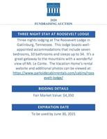 3 nights Roosevelt Gatlinburg Lodge ($4350 Value)