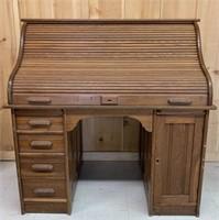 Antique Oak Roll Top Merchants Desk