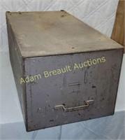 Vintage metal filing drawer, 13 x 25