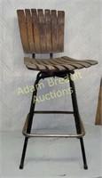 Vintage metal frame wood slat swivel bar stool