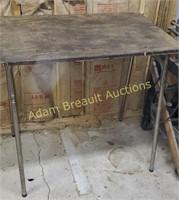 Metal frame custom built work table, 24 X 36 x
