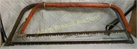 Two vintage great bow saws, 32 inch and 36 in