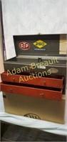 Vintage metal 2 drawer flip top tool box