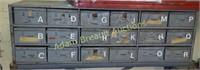 18 drawer metal storage cabinet, 11 x 34.5 X 10.5