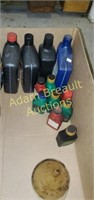 Box of assorted motor oil, 2-cycle engine oil,
