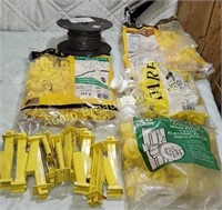 Assorted T post and wood post wire insulators and