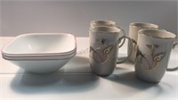 4 Calla Lily Mugs & Set of 3 Corelle Cereal Bowls