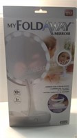 Foldaway Light Up Mirror, Touch Dimmer and