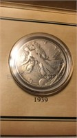Historic 1939 Walking Liberty Stamp & Coin Set