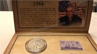 Historic 1944 Walking Liberty Stamp & Coin Set