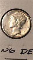 US 1942 Silver Mercury Dime