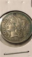 US 1865 Three Cent Nickel