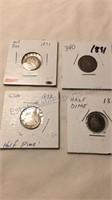 4 US 1858-1891 Silver Half Dimes