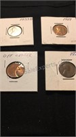 Assorted Wheat Pennies & Off Center Penny