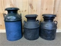 Lot of 3 Old Dairy Cans