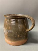 Spotted Green Glaze Handled Pot