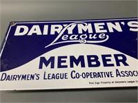 Enamel Dairymens League Member Sign