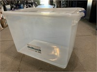112qt storage tote with lid- lid has snack crack
