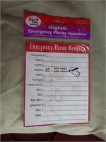 Magnetic list of emergency numbers