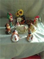 Chicken decor assorted lot. 8 ceramic pieces.