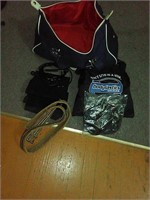 Gym bag includes bodylastics bands, jump rope,
