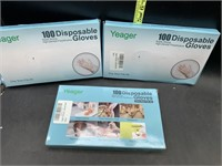 3 packs of 100 disposable gloves- one size