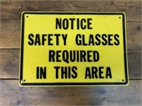Safeco Warehouse Safety Glasses Sign