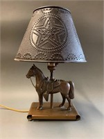 Early Bronzed Tin Type Horse Lamp