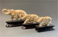Set of 3 Early Ivory Elephant Carvings