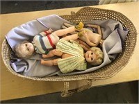 BASKET WITH DOLLS