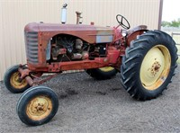 1950 Massey Harris 44, 4-cyl gas, pto, adj wide front, runs, SN: 44GR18734 - This item will be sold at LIVE auction with ABSENTEE BIDDING available. More info, pics and video can be found in the catalog (see lot 5005).
