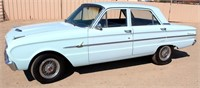 1963 Ford Falcon, 4-dr, 170 Special 6-cyl gas eng, 3-spd on the column, 90,797 mi, has cover, great condition, all original, windshield has a crack, no rust, runs, VIN: 3R02U175802 - This item will be sold at LIVE auction with ABSENTEE BIDDING available. More info, pics and video can be found in the catalog (see lot 5010).