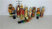 Russian carved wooden Christmas ornaments.