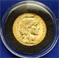 1909 France 20 Francs Gold Rooster BU