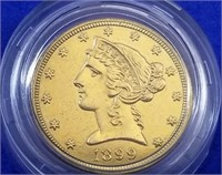 1899 US $5 Gold Liberty Half Eagle BU