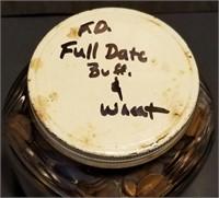 12lb Old Jar of Buffalo Nickels & Wheat Cents
