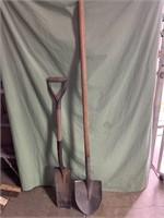2 shovels - both wooden handle