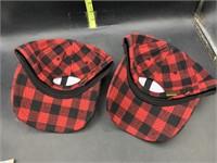 2 Buffalo plaid hats - new