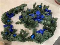 Christmas garland with blue decor