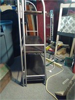 3 tier blk/grey stand made of metal and wood very