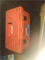 Homer box toolbox with assorted tools. Box has