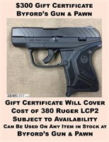 $300 Gift Certificate To Byford's Gun & Pawn