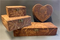 Group of Engraved Hinged Lidded Dresser Boxes