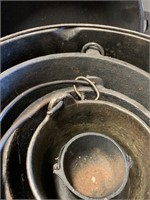 Primitive Staking Cast Iron Handled Pots