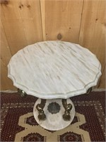 Brass Detailed Marble End Table