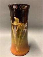 Brown Floral Signed Weller Louwelsa Vase
