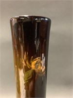 Brown floral Signed Weller Louwelsa Vase Bulbous B