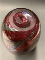 Fine Art Glass Swirl Vase Rose Colour