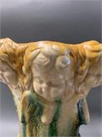 Large Early German Majolica Cherub Vase