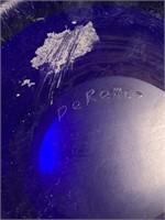 Cobalt Blue Art Glass Vase with acid etched fleur